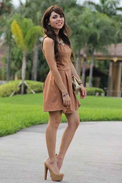 bronze Love dress - camel Mimi Boutique bag - tan Bebe pumps