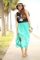 turquoise blue furor moda skirt - beige ole panama hat hat