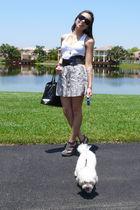 gray Forever 21 shoes - white Forever 21 skirt - black Forever 21 belt - white F