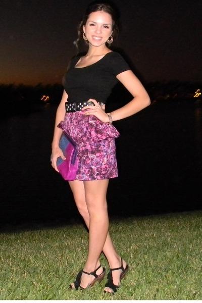black Forever 21 shirt - purple Adriana Castro bag - black Steve Madden heels -