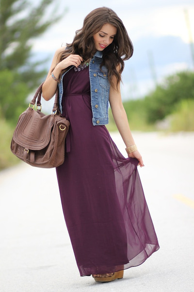 64c146ab7a3 magenta maxi Forever 21 dress - brown Mimi Boutique bag