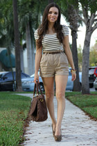 white Forever 21 dress - dark brown Mimi Boutique bag - tan Forever 21 shorts -