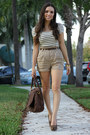 White-forever-21-dress-dark-brown-mimi-boutique-bag-tan-forever-21-shorts-