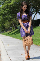 navy Forever 21 dress - tawny Mimi Boutique bag - gold casio watch - bronze Jess