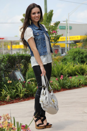 heather gray Mimi Boutique bag - black Forever 21 pants - black go jane heels -