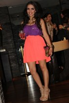 tan Shoedazzle shoes - deep purple Zara shirt - dark brown Aldo bag - coral EDA