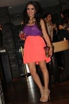 tan Shoedazzle shoes - deep purple Zara shirt - dark brown Aldo bag - coral EDA