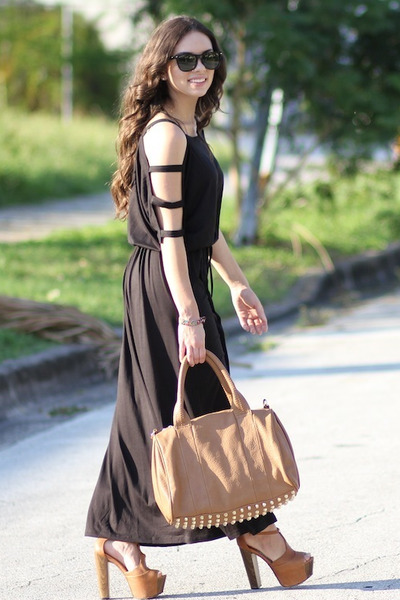 tawny Furor bag - tawny Jessica Simpson shoes - black Furor dress