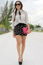 black Batoko skirt - white Forever 21 shirt - hot pink remi and emmy bag