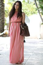 brown Mimi Boutique bag - salmon stripes In Love with Fashion dress