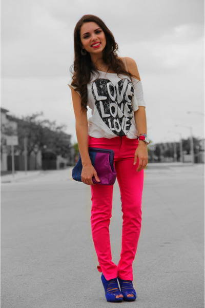 White Forever 21 Tops, Hot Pink Zara Jeans, Deep Purple Adriana ...