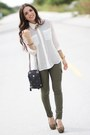White-forever-21-shirt-black-vintage-bag-dark-brown-aldo-pumps