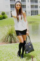 black Forever 21 shoes - black Forever 21 socks - black Forever 21 skirt - white