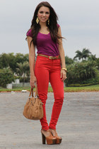 bronze Mimi Boutique bag - red Zara pants - magenta Forever 21 top - bronze Jess