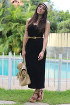 beige fedora Agaci hat - black Forever 21 shirt - tan Mimi Boutique bag - brown