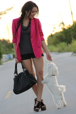 tank top Forever 21 top - 80s thrifted blazer - Mimi Boutique bag - Roxy shorts