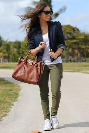 olive green Express pants - navy Forever 21 blazer
