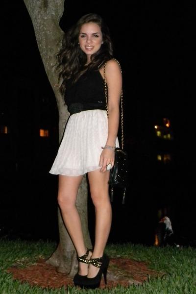 black vintage bag - black Shoedazzle heels - black Express top - ivory Forever 2