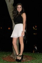 black vintage bag - black Shoedazzle heels - black Express top - ivory Forever 2