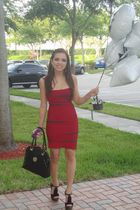 red herve leger dress - black Steve Madden shoes - black Meet Mark purse - black
