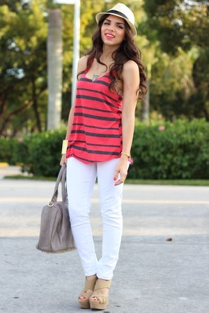 gold Furor necklace - white JC Penney jeans - tan Agaci hat