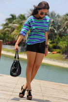 black Mimi Boutique bag - blue stripes Zara shirt - black Roxy shorts