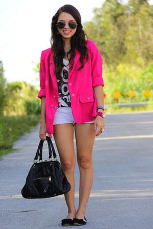 hot pink vintage blazer - white Forever 21 shirt - black Mimi Boutique bag
