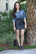 black vintage bag - blue Forever 21 shirt - black Forever 21 heels