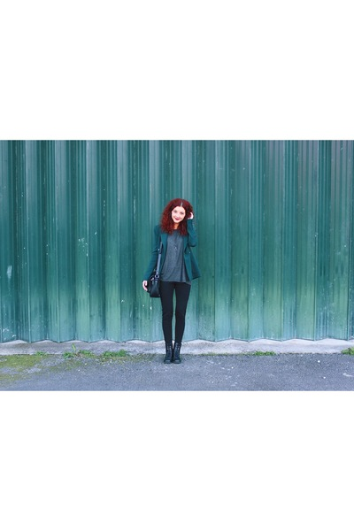 dark green Zara blazer - black faux leather Primark boots