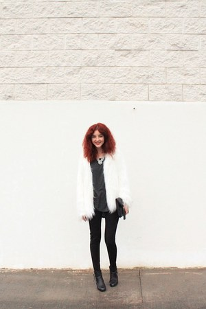 white faux fur Bershka coat - black faux leather Primark boots
