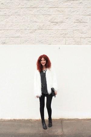 white faux fur Bershka coat - black faux leather Primark boots
