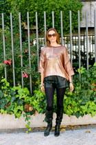 Sergio Rossi boots - Zara sweater - H&M shorts