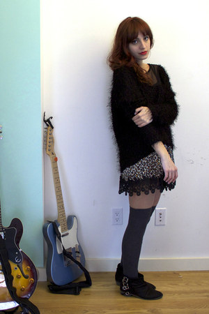 black Zara boots - black Nasty Gal sweater - charcoal gray thigh high socks - ca
