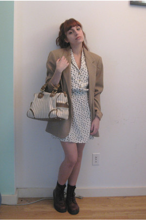 crimson Dr Martens boots - white Topshop dress - tan vintage blazer - cream Zara