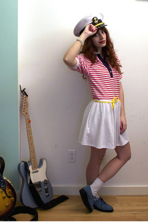 blue asos shoes - white nautical vintage dress - white captain vintage hat