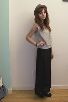 black maxi Urban Outfitters dress - heather gray elli hat - black suede Deena &