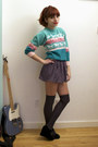 Aquamarine-vintage-sweater-charcoal-gray-yellow-is-gold-shorts-suede-deena-