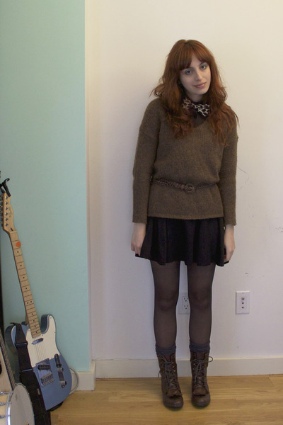 dark brown we who see boots - black asos dress - brown knit madewell sweater - t