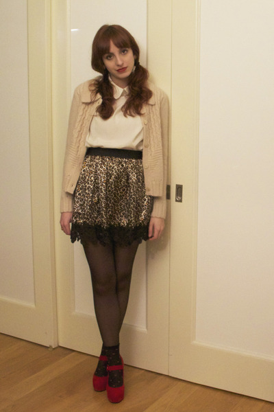 black H&M socks - white American Apparel blouse - light brown silk asos skirt -