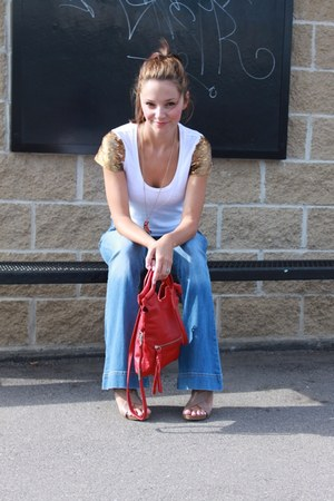 blue Guess jeans - red foley & corinna bag - white Gap t-shirt - tan Michael Kor