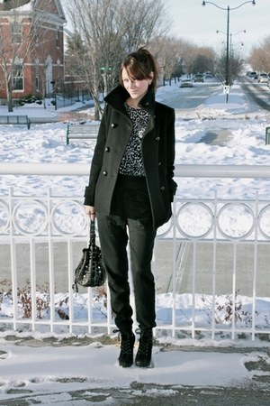 black T Babaton coat - black wilfred pants - white Jacob shirt - black Nine West