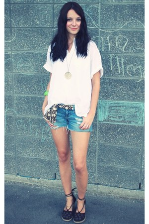 white bangkok market blouse - navy American Eagle shorts - brown Walmart wedges