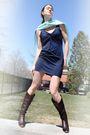Shoegasm-boots-h-m-dress-blue-k-design-scarf