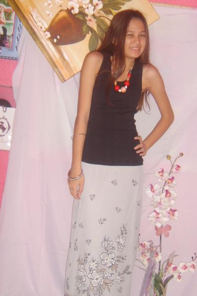 Gap top - department store skirt - Broadway Gems necklace