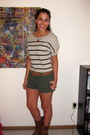 Striped-forever-21-shirt-olive-green-mossimo-shorts