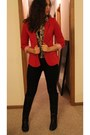 Black-knee-high-forever-21-boots-black-skinny-pacsun-jeans-red-blazer