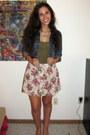 Blue-jean-jacket-olive-green-forever-21-shirt-beige-floral-print-forever-21-