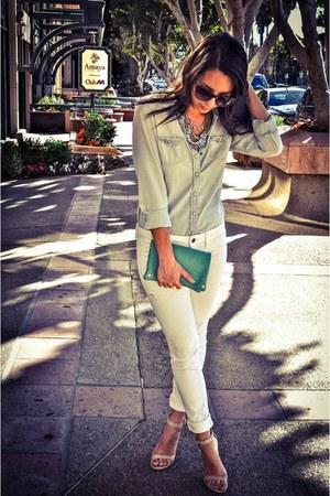 chambray American Eagle shirt - American Eagle jeans - Tobi bag - luluscom heels