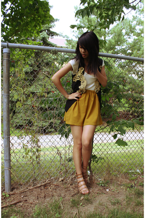 black vintage vest - gold homemade skirt - brown Nine West shoes