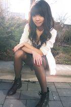 white cardigan - blue Kimchi&Blue dress - gold necklace - black boots